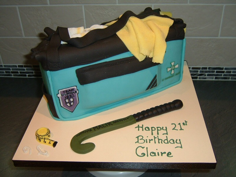 Sports - Sports bag shaped 21st birthday cake for sport-mad Claire of Manchester