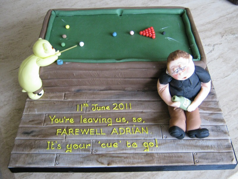 Snooker -  Snooker themed retirement cake for Adrian of Cleveleys