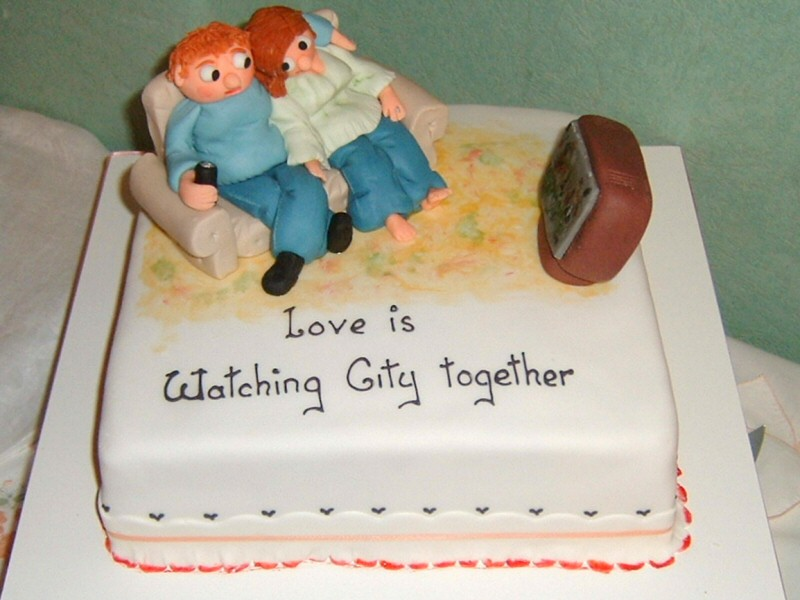 Love Is - Manchester City fans wedding anniversary cake for Claire and Martin