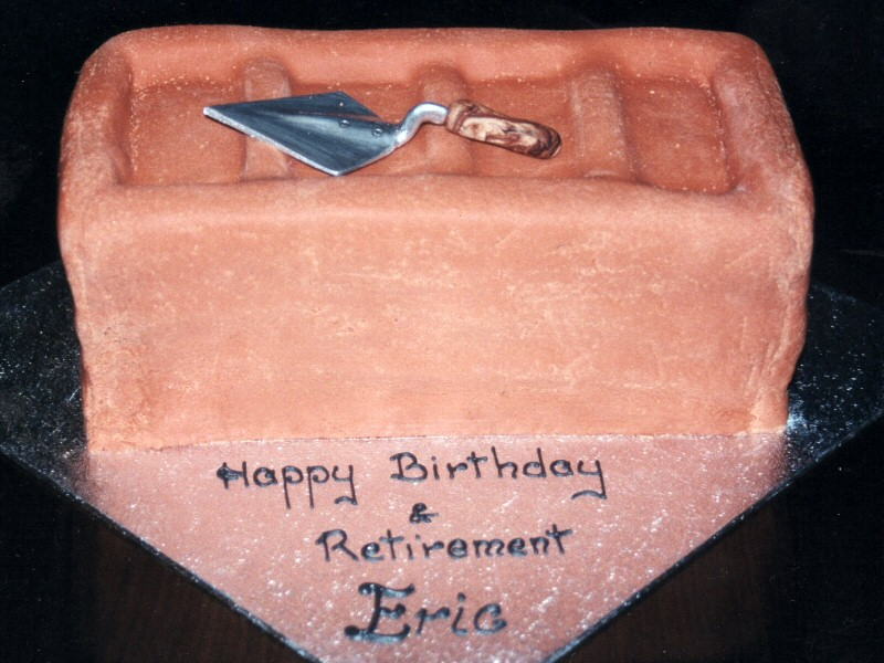 Brick - Shaped retirement Cake for Eric of Bolton