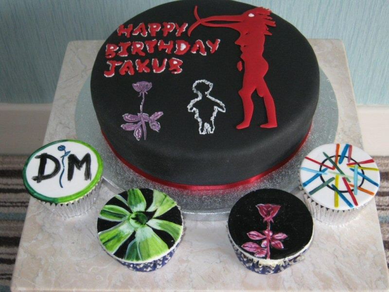 Depeche Mode - Sponge cake and assorted cupcakes featuring Depeche Mode theme for music fan Jacob of Blackpool.