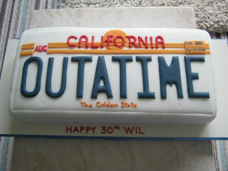 Back to the Future - A cake shaped in the style of the license plate from Back to the Future for Wil's 30th.