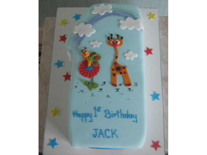 Fuzzy Felt - A retro shaped 1st birthday cake for Jack made to resemble fuzzy felt creations.